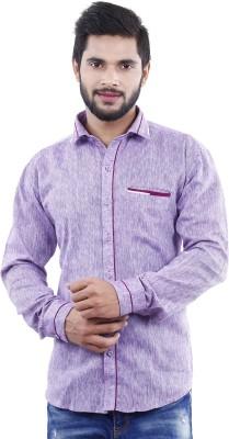 Crocks Club Men's Solid Casual Purple Shirt
