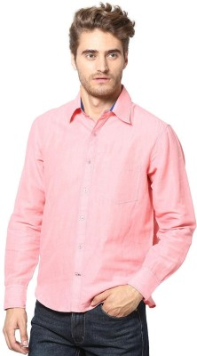 The Vanca Men's Solid Casual Linen Pink Shirt