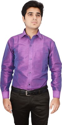 Excellency Men's Solid Casual Purple Shirt