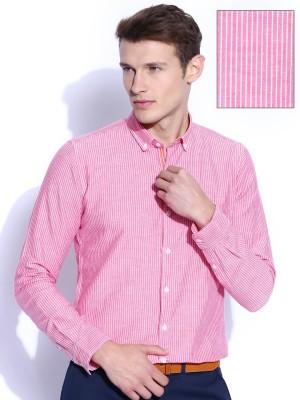 Mast & Harbour Men's Striped Formal Pink Shirt