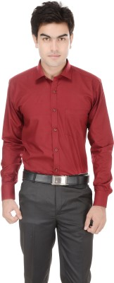 Kalrav Men's Solid Casual, Formal, Party, Wedding Maroon Shirt
