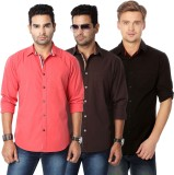 Suspense Men's Solid Casual Red, Brown, ...
