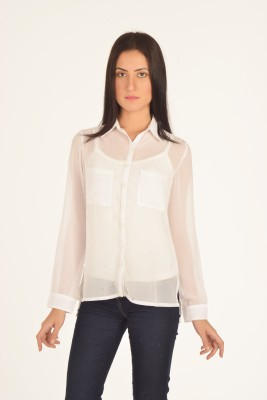 Bombay High Women's Solid Casual White Shirt