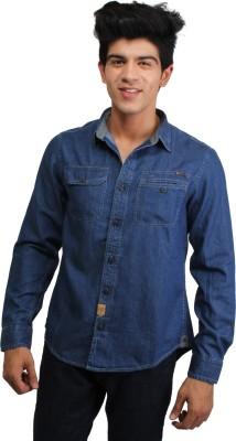 CAT Men's Solid Casual Reversible Blue Shirt