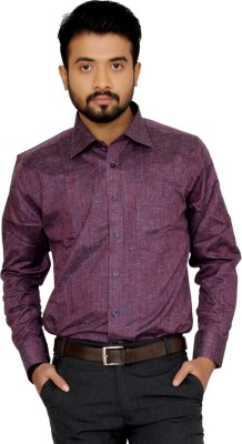 Indian Weller Men's Woven Formal Maroon Shirt