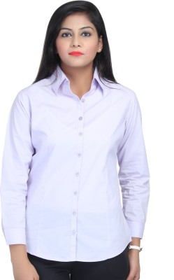 Estella Fashion Women's Solid Formal Purple Shirt