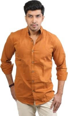 Basil Men's Solid Casual Brown Shirt