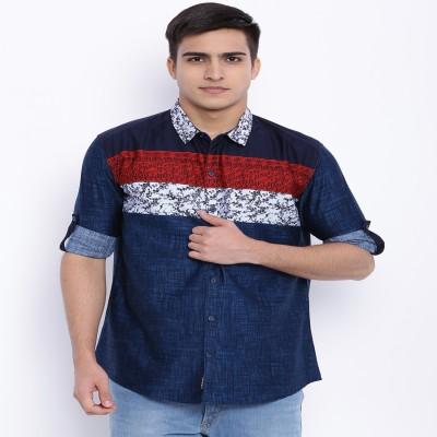 Le Bison Men's Printed Casual Dark Blue Shirt