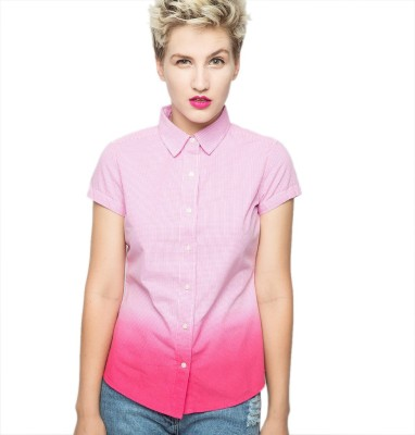 American Swan Women's Checkered Casual Pink Shirt
