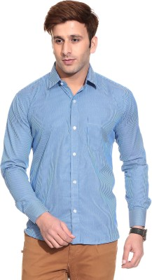 Stylistry Men's Striped Casual Blue Shirt