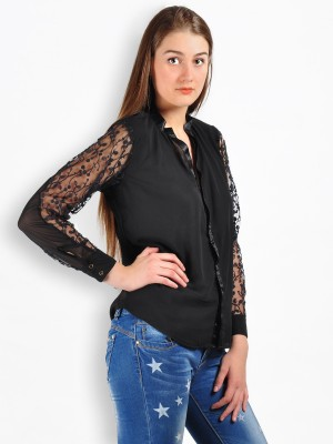 MySin Women's Self Design Party Black Shirt