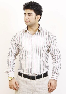 SIERA Men's Striped Formal Purple, Black, White Shirt
