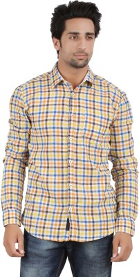 Orange and Orchid Men's Checkered Casual Multicolor Shirt