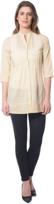 Florrie Fusion Women's Solid Casual Yellow Shirt