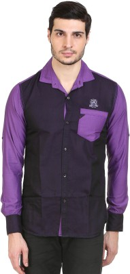 Alive Sport Men's Solid Casual Purple Shirt