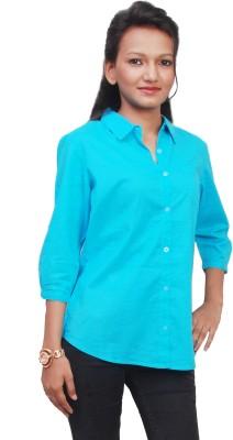 Naughty Bear Women's Solid Formal Blue Shirt