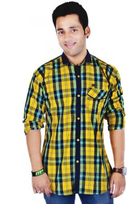 Hd Rascals Men's Checkered Casual Yellow Shirt
