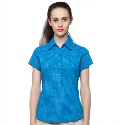 American Swan Women's Solid Casual Blue Shirt