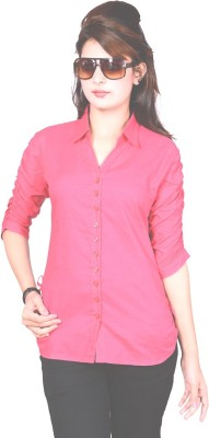 Jazzy Ben Women,s Solid Casual Pink Shirt