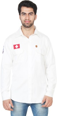 Swiss Culture Men's Solid Casual White Shirt