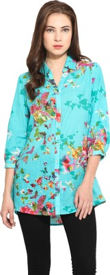 Free & Young Women's Floral Print Casual Blue Shirt