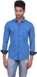 V Seven Men's Checkered Casual Blue Shir...