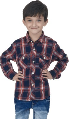 SuperYoung Boy's Checkered Casual Orange Shirt