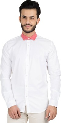 British Club Men's Solid Casual White, Pink Shirt