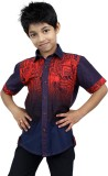 Zeal Boys Printed Casual Blue, Red Shirt