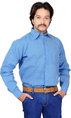 FebSense Men's Solid Casual Blue Shirt