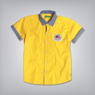Palm Tree Boy's Solid Casual Yellow Shirt
