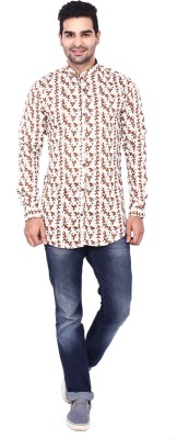 Coloroid Men's Printed, Floral Print Casual Brown, White Shirt