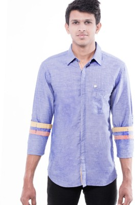 Enovate Men's Solid Casual Blue Shirt