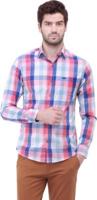 Jogur Men's Checkered Casual Pink Shirt
