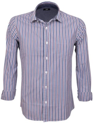 Legato Men's Striped Wedding, Casual, Party, Formal Brown, White, Blue Shirt