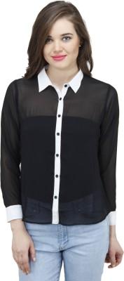 Osumfab Women's Solid Casual Black, White Shirt