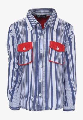 Cool Quotient Baby Boy's Self Design Casual Blue Shirt