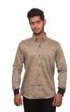 Signore Men's Printed Formal Brown Shirt
