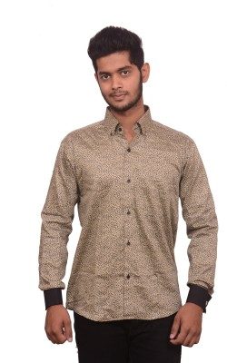 Signore Men's Printed Formal Brown Shirt