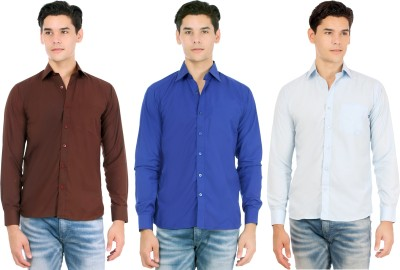 Atmosphere Men's Solid Formal Brown, Dark Blue, Light Blue Shirt