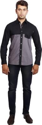Verve Men's Solid Casual Black, Grey Shirt