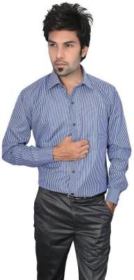 Culture Plus Men's Striped Formal Blue Shirt