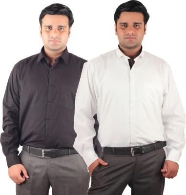 RIPARV Men's Solid, Printed Formal Black, White Shirt