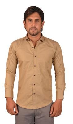 Koridor Men's Solid Formal Beige Shirt