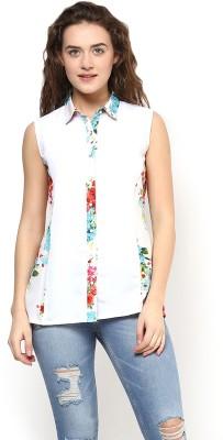 Martini Women's Printed Casual White Shirt
