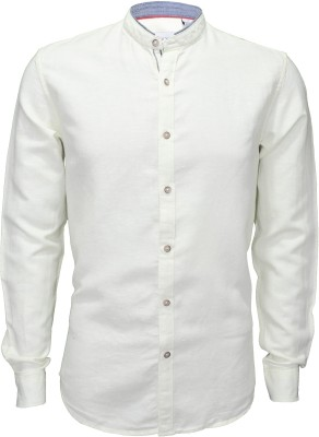 IVYN Men's Solid Casual Linen White Shirt