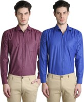 Ave Formal Shirts (Men's) - Ave Men's Solid Formal Maroon, Blue Shirt(Pack of 2)