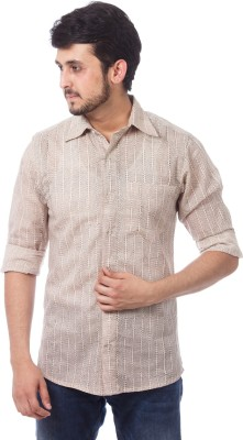 ERBE Men,s Geometric Print Casual Beige Shirt