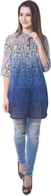 Florrie Fusion Women's Graphic Print Casual Blue Shirt
