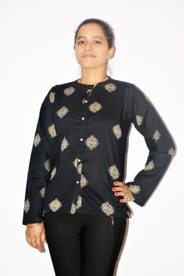 Chitrali Women's Printed Casual, Formal Black Shirt